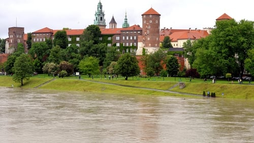 High water levels on the river Wisla near the Royal Castle and the Wawel Cathedral in Krakow, Poland