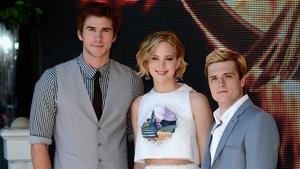Stars of The Hunger Games Liam Hemsworth, Jennifer Lawrence and Josh Hutcherson