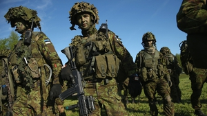 Members of the Estonian Scouts Battalion take part in NATO 'Spring Storm' military exercises near Otepaa, Estonia