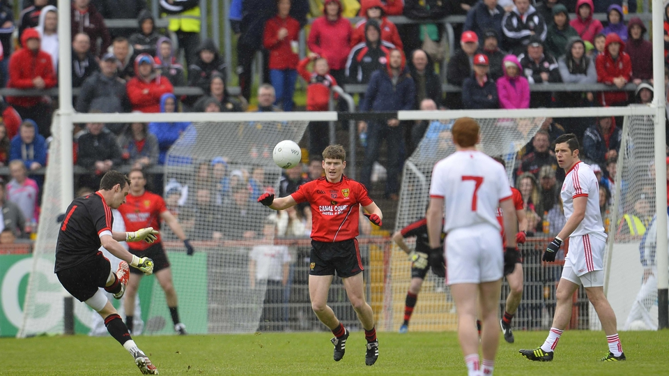 Tyrone goalkeeper Niall Morgan takes a free against Down in the Ulster SFC at Healy Park