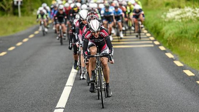Markus Elbegger leads the peloton on the approach to Roscommon during stage one of the 2014 An Post Rás