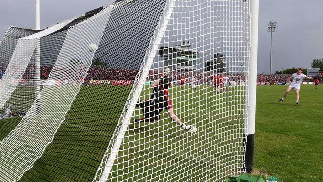 Peter Harte scored Tyrone's first goal from the penalty spot.