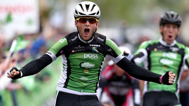 Robert McCarthy of An Post Chain Reaction celebrates winning stage one