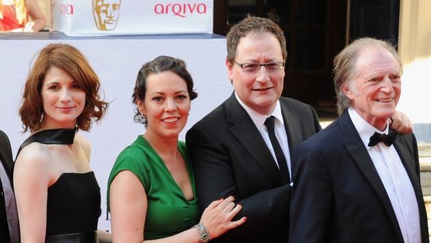 l-r - Broadchurch stars Jodie Whittaker and Olivia Colman, creator Chris Chibnall and star David Bradley