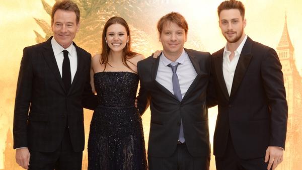 l-r Bryan Cranston, Elizabeth Olsen, Gareth Edwards and Aaron Taylor-Johnson