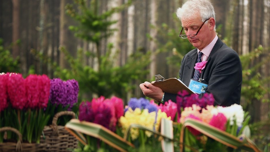 A judge marks a stand in the Great Pavilion at the 2014 Chelsea Flower Show at Royal Hospital Chelsea, UK