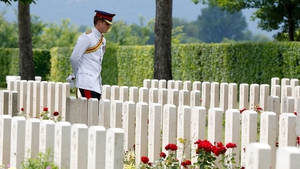 Britain's Prince Harry honours fallen British troops in a special UK commemoration at the Cassino Commonwealth War Cemetery in Italy