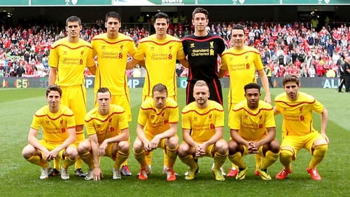 Ryan McLaughlin (front row, third from right) was in Dublin last week playing for Liverpool against Shamrock Rovers
