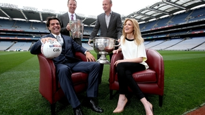 The new Sky Sports GAA team lined out in Croke Park: Brian Carney, Jamesie O'Connor, Peter Canavan and Rachel Wyse