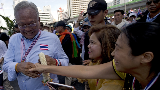 Thai anti-government protest leader Suthep Thaugsuban (L) during a rally in Bangkok this month