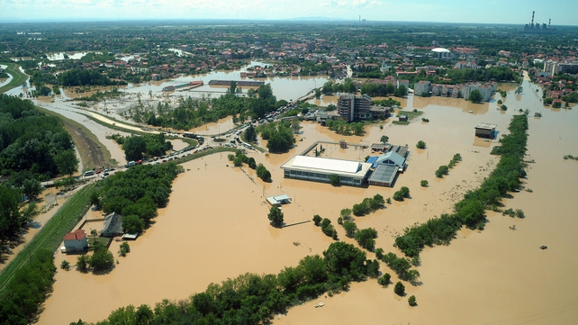 An aerial view shows the flooded Serbian town of Obrenovac, some 30km southwest of Belgrade