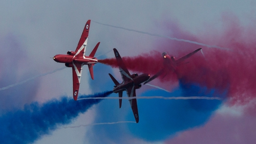 The RAF Red Arrows practice ahead of their 2014 season at Limassol, Cyprus
