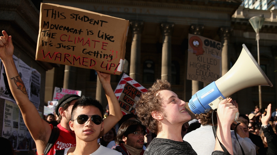 Students protest outside the state library in Melbourne, Australia