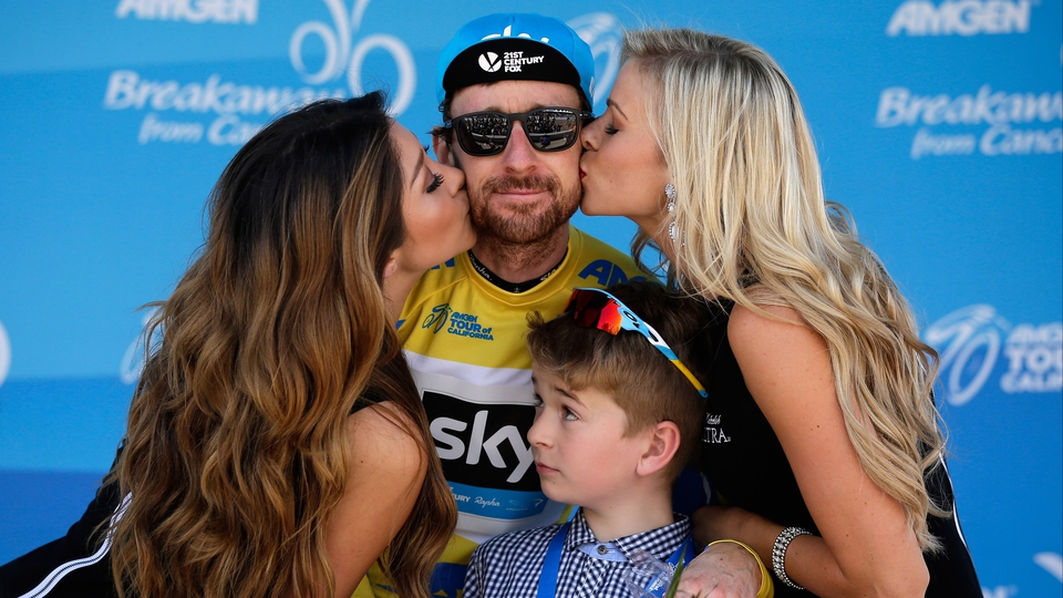 Bradley Wiggins is happier about a kiss from the flower girls than his son Ben at the 2014 Amgen Tour of California