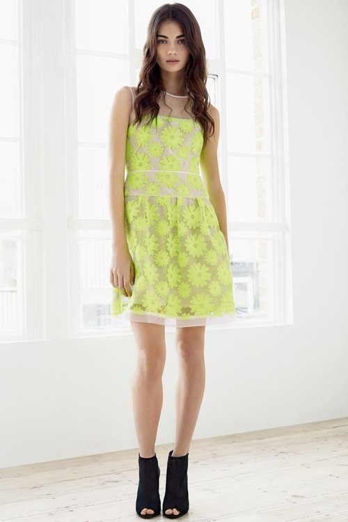 Neon flower laces dress - €275 Limited edition leather peep toe boot - €225