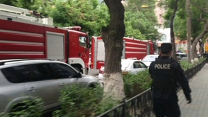 Emergency services rush to the scene of the blasts