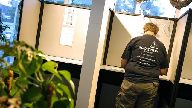 A man casts his vote in Castricum