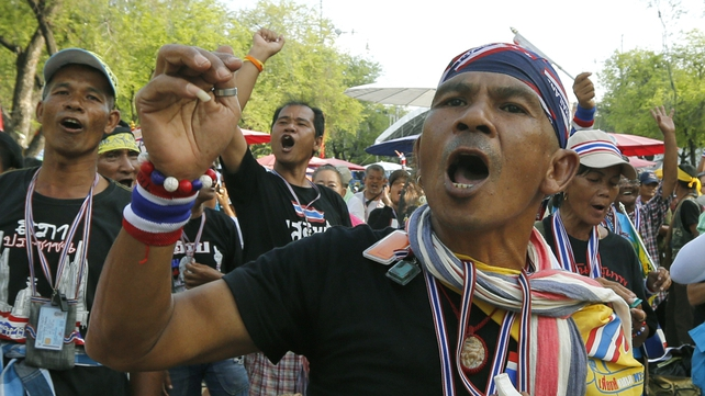 Anti-government protesters stage a rally in Bangkok