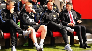 Paul Scholes (2nd l) served as an assistant to interim Manchester United manager Ryan Giggs, along with Phil Neville and Nicky Butt