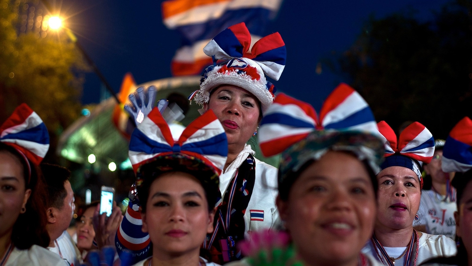Anti-government protesters gather near government buildings in Bangkok