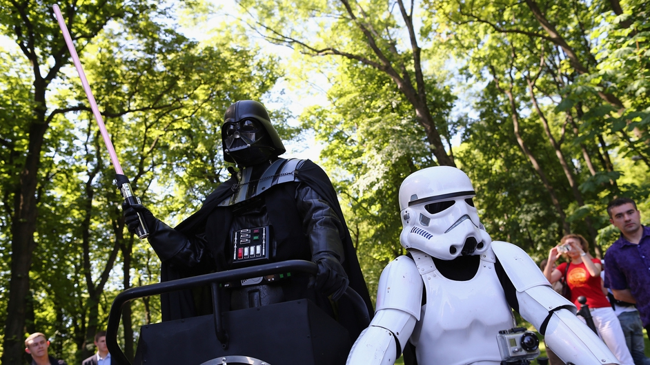 Kiev's mayoral candidate for the Internet Party, 'Darth Vader'. Ukraine's Presidential elections take place this Sunday.