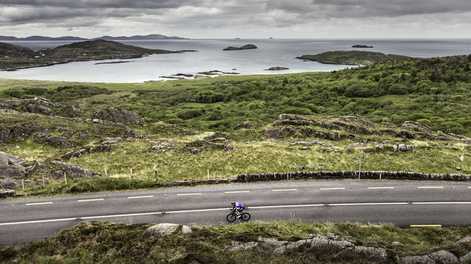 Stage 5: A lone rider passes by Derrynane Bay