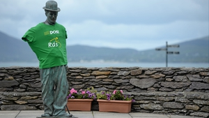 Stage 5: The Charlie Chaplin statue in Waterville gets into the spirit of things
