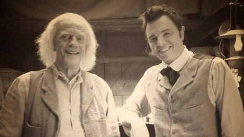 Christopher Lloyd and Seth MacFarlane on the set of A Million Ways to Die in the West