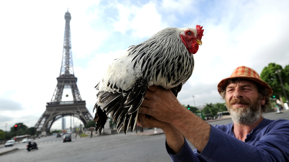 A farmer holds a rooster in front of the Eiffel Tower in Paris prior to the launch of  'the Green night', an event on biodiversity and agriculture