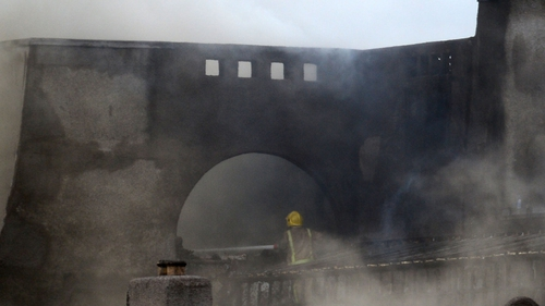 Fire crews deal with the fire at the GSA's Charles Rennie Mackintosh building