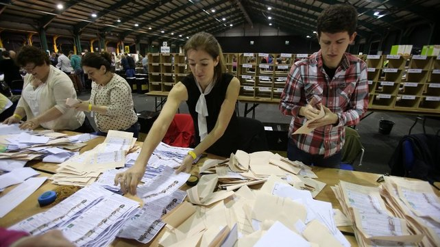 Ballot boxes are opened as counting began in the Local and European Elections at the RDS in Dublin