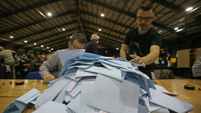Boxes are opened at the RDS elections count centre