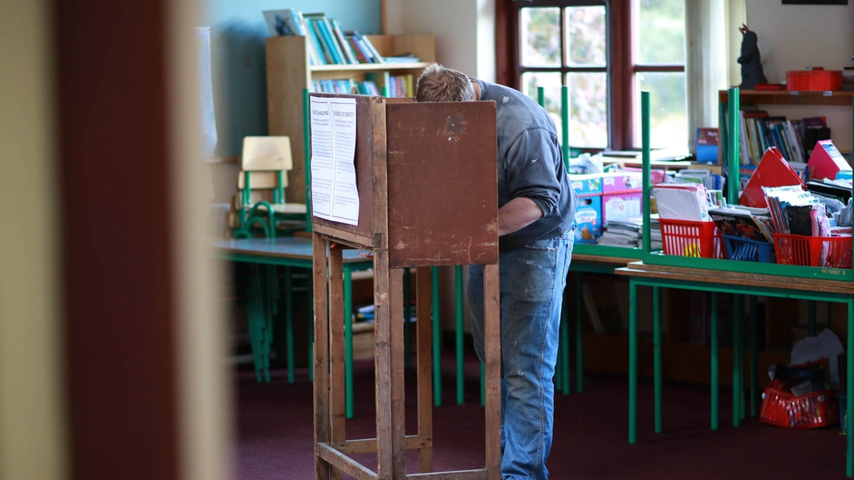 A voter casts his ballot in Co Louth