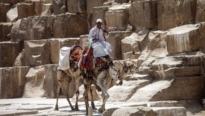 An Egyptian camel owner waits for tourists at Gaza pyramids, south of Cairo