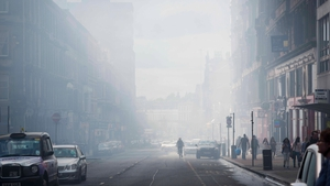 Smoke fills the air after a fire broke out at the Glasgow School of Art