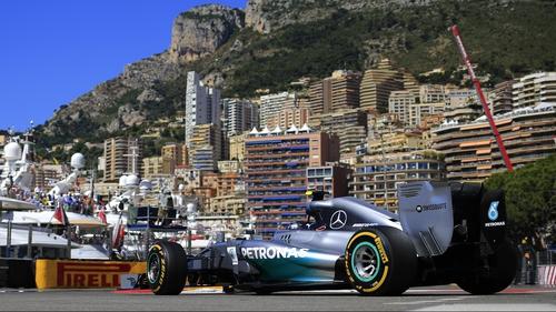 Nico Rosberg in action at the Monaco street circuit