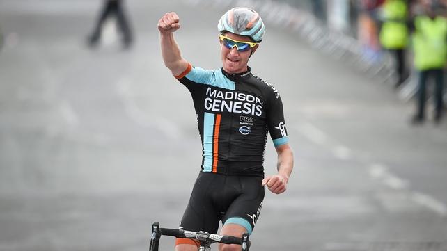 Liam Holohan celebrates victory in Baltinglass