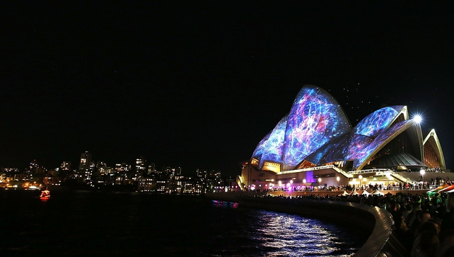 It is believed the man died after falling into the water at Darling Harbour during the Vivid Sydney light show