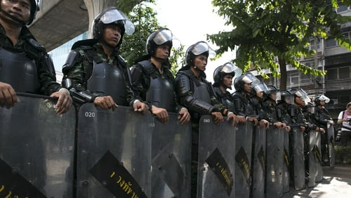 Thai military wear riot shields as tensions increased during an anti-coup protest