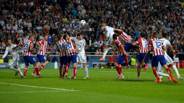 Sergio Ramos heads home Real Madrid's equaliser from the edge of the penalty area