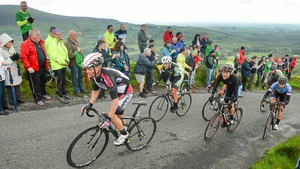 Synergy Baku's Daniel Klemme races to the summit of the Corabutt Gap