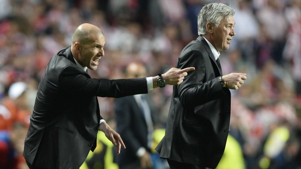 Real Madrid supremo Carlo Ancelotti and assistant Zinedine Zidane on the sideline in Lisbon