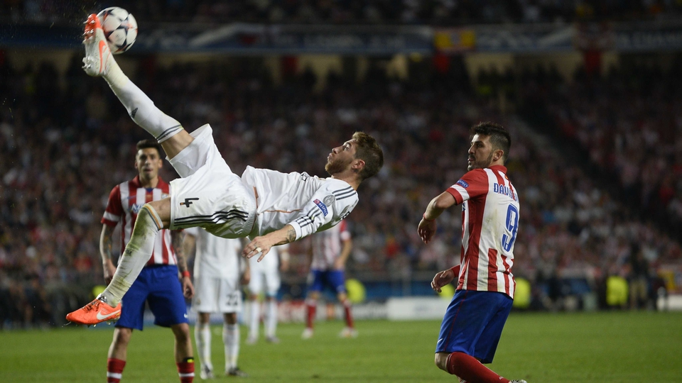 An athletic over from Real Madrid's Sergio Ramos