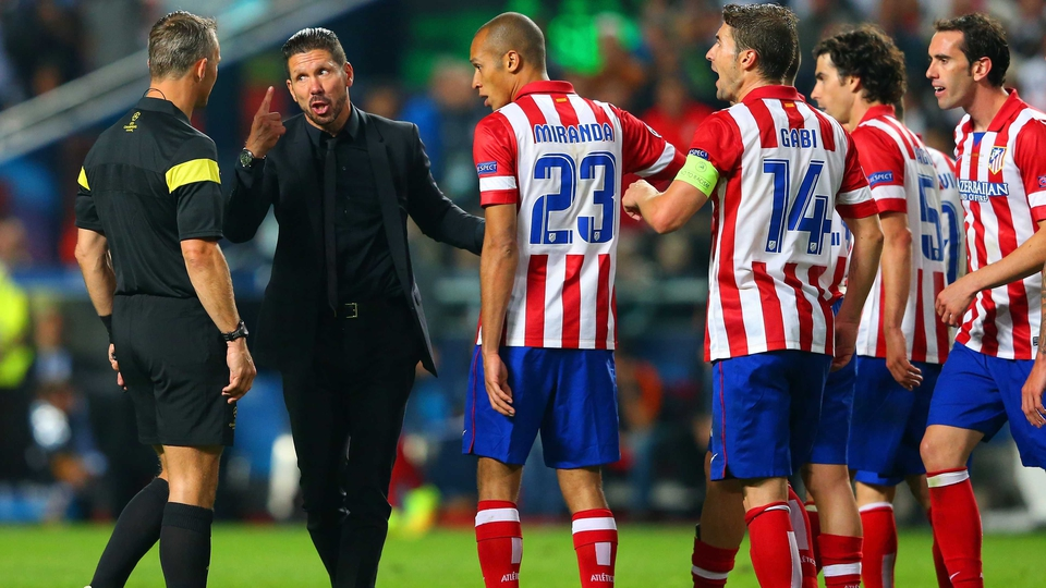 Brooding Atletico Madrid manager Diego Simeone only has eye for the referee