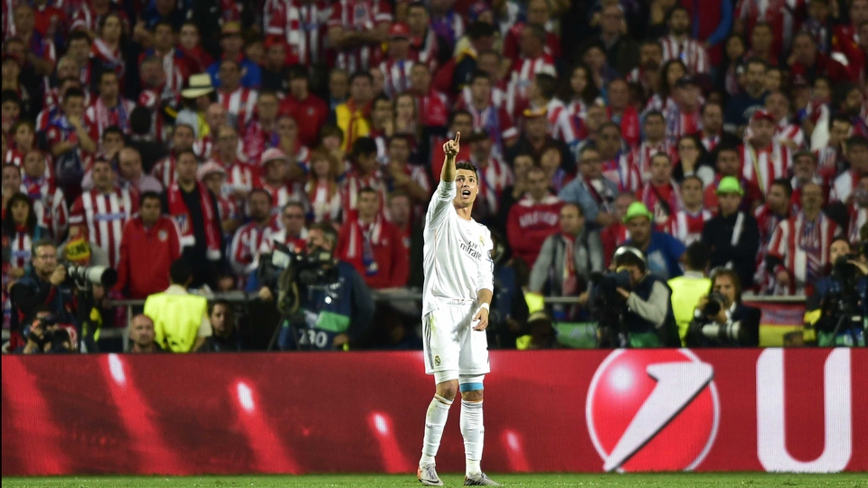 Cristiano Ronaldo is scrutinised by Atletico Madrid fans