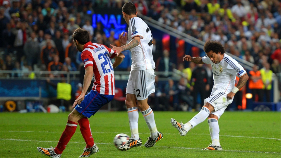 Marcelo hammers in a third goal for Real Madrid