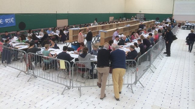 Counting of votes in the European elections in Cork this morning