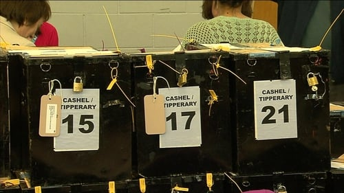 Votes ready to be counted in ballot boxes in Cashel