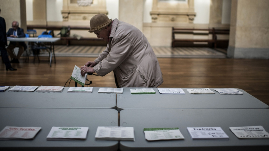 A woman voting in the European elections at a polling station in Lyon, France