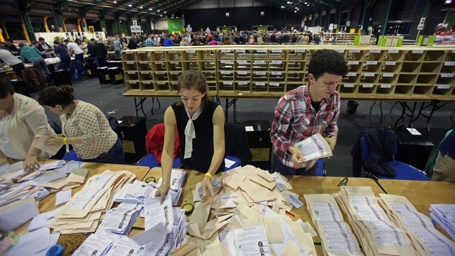 Votes are counted in the RDS in Dublin